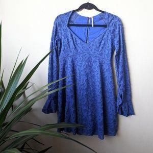 Free People Blue Skies Babydoll V Neck Mini Dress